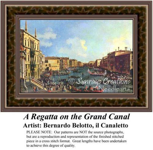 A Regatta on the Grand Canal, Fine Art Counted Cross Stitch Pattern