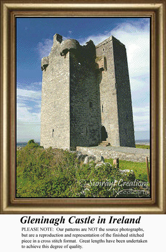 Gleninagh Castle in Ireland Counted Cross Stitch Pattern