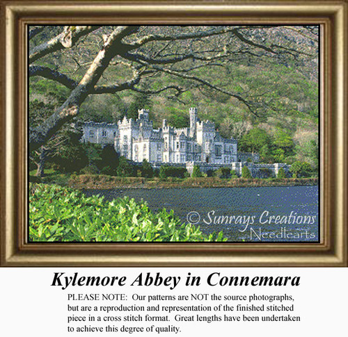 Kylemore Abbey in Connemara, Irish Counted Cross Stitch Pattern