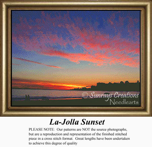 La-Jolla Sunset, Skyscapes Counted Cross Stitch Pattern