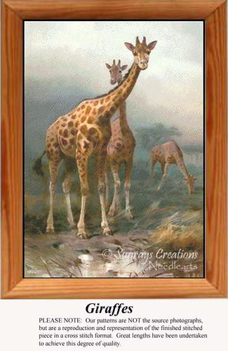 Giraffes, Animals Counted Cross Stitch Pattern