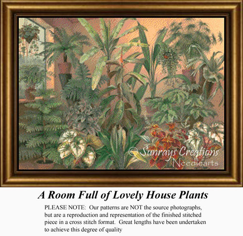 A Room Full of Lovely House Plants, Flowers Counted Cross Stitch Pattern