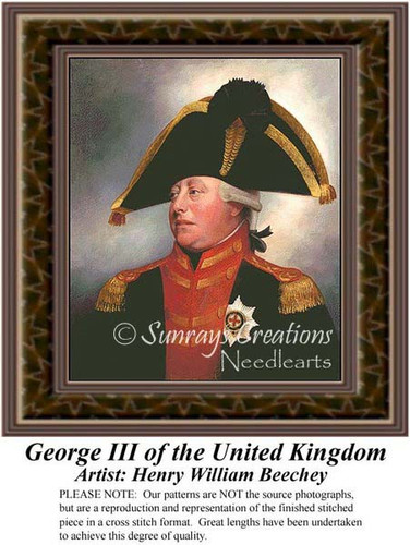 George III of the United Kingdom, Fine Art Counted Cross Stitch Pattern, Nobility Counted Cross Stitch Pattern, Men Counted Cross Stitch Pattern