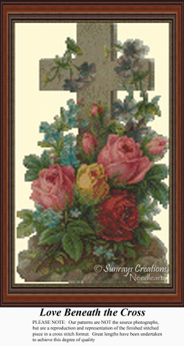 Love Beneath the Cross, Vintage Counted Cross Stitch Pattern