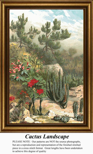 Cactus Landscape, Flowers Counted Cross Stitch Pattern