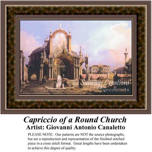 Capriccio of a Round Church, Architecture Counted Cross Stitch Pattern, Fine Art Counted Cross Stitch Pattern
