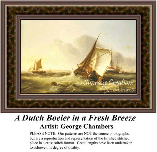 A Dutch Boeier in a French Breeze, Waterscapes Counted Cross Stitch Pattern, Fine Art Counted Cross Stitch Pattern