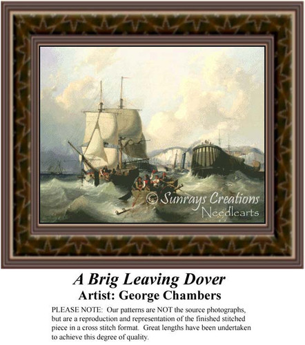 A Brig Leaving Dover, Waterscapes Counted Cross Stitch Pattern, Fine Arts Counted Cross Stitch Pattern