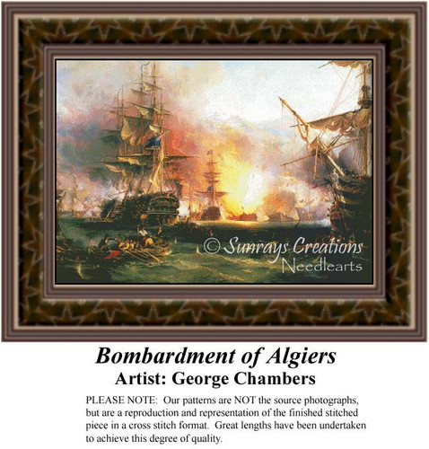 Bombardment of Algiers, Famous Battles Counted Cross Stitch Pattern, Fine Art Counted Cross Stitch Pattern