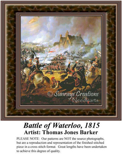 Battle of Waterloo,1815, Famous Battles Counted Cross Stitch Pattern, Fine Art Counted Cross Stitch Pattern