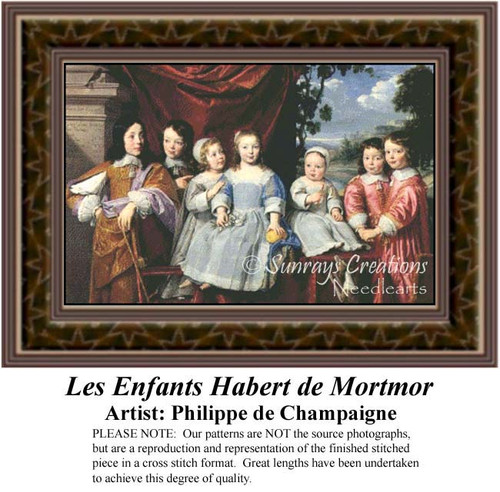 Les Enfants Habert de Mortmor, Fine Art Counted Cross Stitch Pattern, Children Counted Cross Stitch Pattern