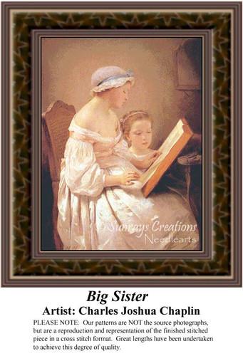 Big Sister, Fine Art Counted Cross Stitch Pattern, Family Cross Stitch Patterns