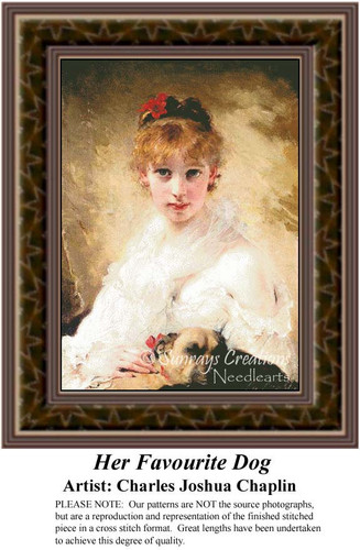 Her Favourite Dog, Fine Art Counted Cross Stitch Pattern, Women Counted Cross Stitch Pattern
