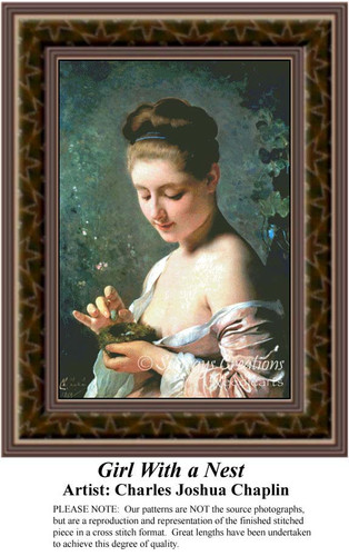 Girl with a Nest, Fine Art Counted Cross Stitch Pattern, Women Counted Cross Stitch Pattern