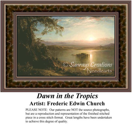 Dawn in the Tropics, Fine Art Counted Cross Stitch Pattern, Waterscapes Cross Stitch Patterns
