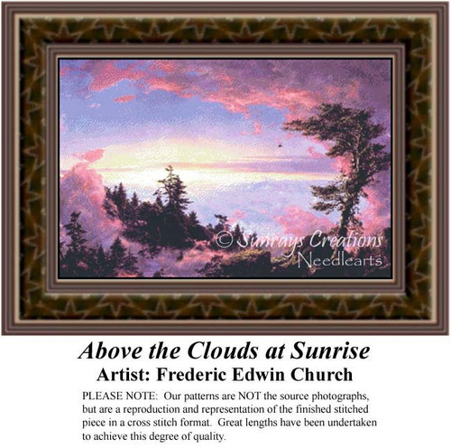 Above the Clouds at Sunrise, Fine Art Counted Cross Stitch Pattern, Alluring Landscapes Counted Cross Stitch Pattern