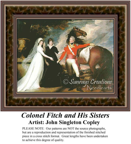 Colonel Fitch and His Sisters, Fine Art Counted Cross Stitch Pattern, Family Counted Cross Stitch Pattern