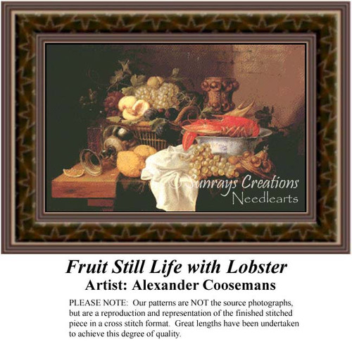 Fruit Still Life with Lobster, Still Lifes Counted Cross Stitch Pattern, Fine Art Counted Cross Stitch Pattern