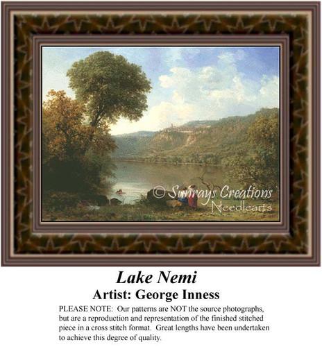 Lake Nemi, Fine Art Counted Cross Stitch Pattern, Alluring Landscapes Counted Cross Stitch Pattern
