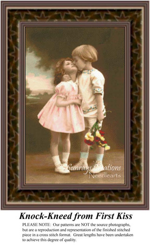 Knock-Kneed From First Kiss, Sepia Counted Cross Stitch Pattern