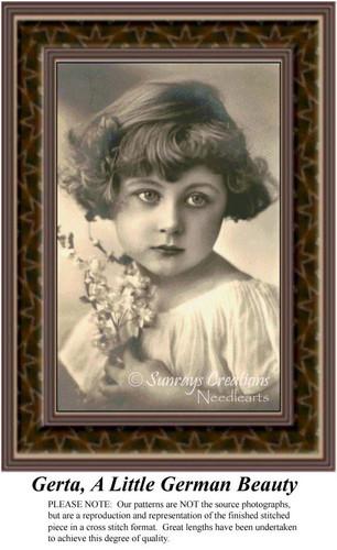 Gerta, A Little German Beauty, Sepia Counted Cross Stitch Pattern