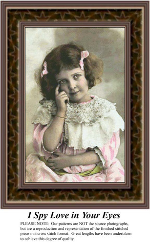 I Spy Love in Your Eyes, Sepia Counted Cross Stitch Pattern