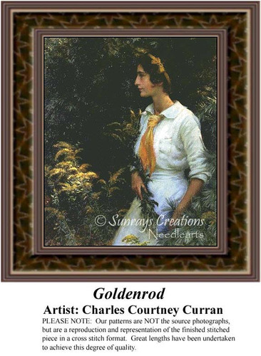 Goldenrod, Fine Art Counted Cross Stitch Pattern, Women Counted Cross Stitch Pattern