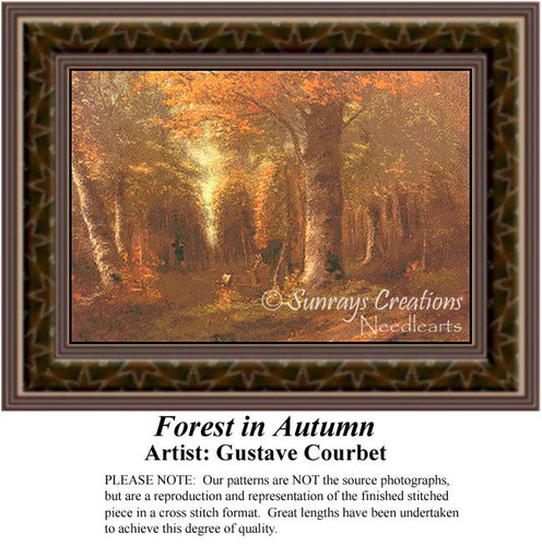 Forest in Autumn, Fine Art Counted Cross Stitch Pattern, Fall Counted Cross Stitch Pattern, Alluring Landscapes Counted Cross Stitch Pattern