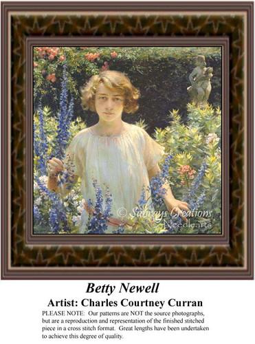Betty Newell, Fine Art Counted Cross Stitch Pattern, Women Counted Cross Stitch Pattern