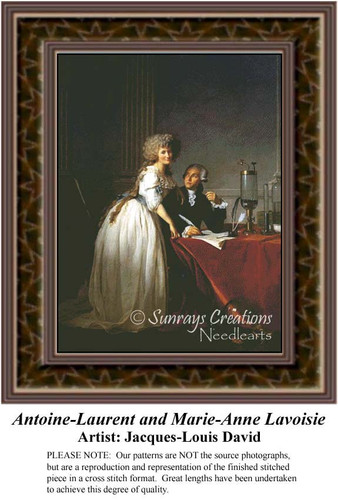 Antoine-Laurent and Marie-Anne Lavoisie, Fine Art Counted Cross Stitch Pattern, Romance Counted Cross Stitch Pattern