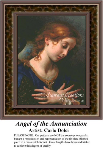 Angel of the Annunciation, Angel Counted Cross Stitch Pattern, Fine Art Counted Cross Stitch Patterns