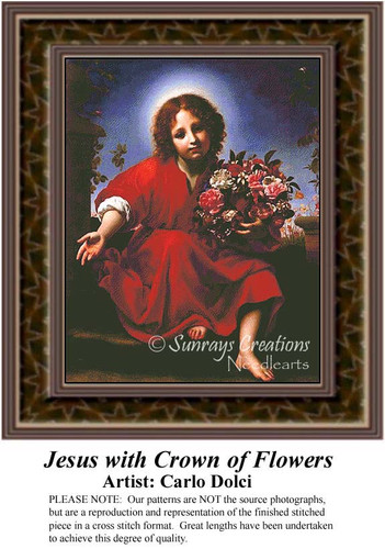 Jesus with Crown of Flowers, Religious Counted Cross Stitch Pattern