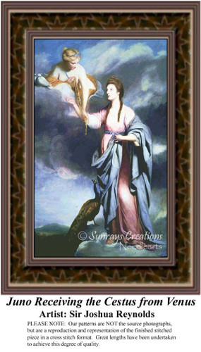 Juno Receiving the Cestus from Venus, Fine Art Counted Cross Stitch Pattern, Fantasy Counted Cross Stitch Pattern