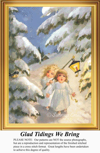 Glad Tidings We Bring, Vintage Counted Cross Stitch Pattern