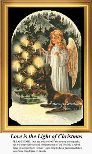 Love is the Light of Christmas, Vintage Counted Cross Stitch Pattern