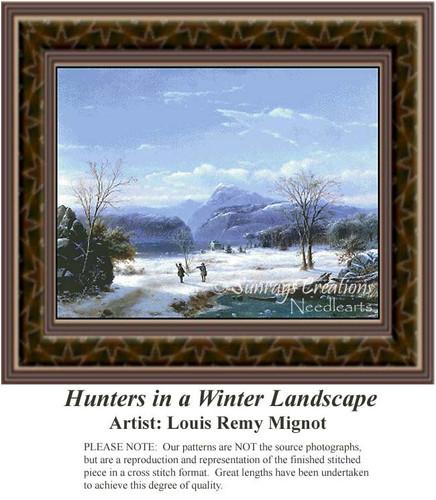 Hunters in a Winter Landscape, Winter Counted Cross Stitch Pattern, Fine Art Counted Cross Stitch Pattern