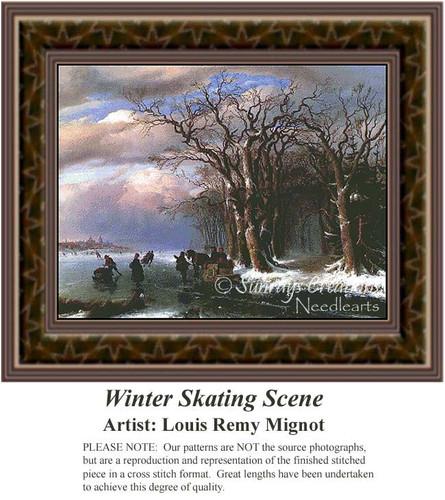 Winter Skating Scene, Fine Art Counted Cross Stitch Pattern, Winter Counted Cross Stitch Pattern