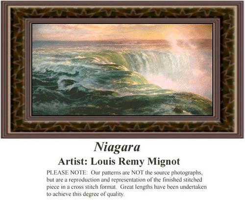 Niagara, Fine Art Counted Cross Stitch Pattern, Waterscapes Counted Cross Stitch Patterns