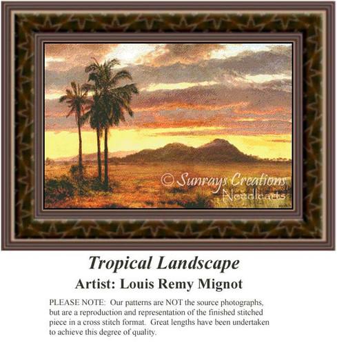 Tropical Landscape, Fine Art Counted Cross Stitch Pattern, Alluring Landscapes Counted Cross Stitch Pattern