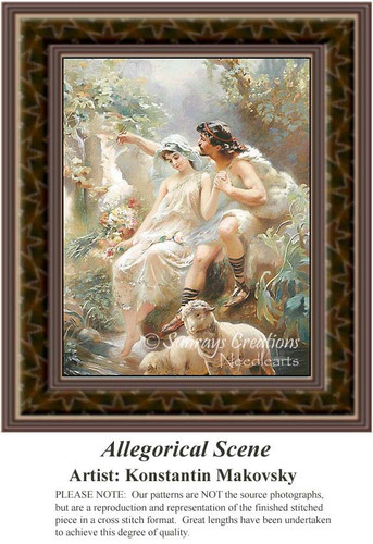 Allegorical Scene, Romance Counted Cross Stitch Pattern, Fine Art Counted Cross Stitch Pattern