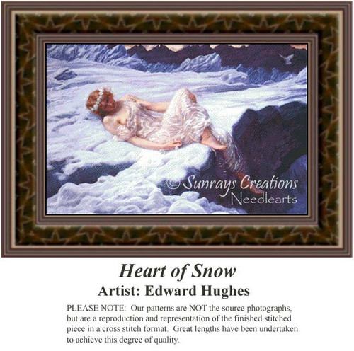 Heart of Snow, Fine Art Counted Cross Stitch Pattern, Women Counted Cross Stitch Pattern