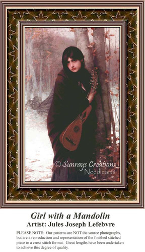 Girl with a Mandolin, Fine Art Counted Cross Stitch Pattern, Women Counted Cross Stitch Pattern
