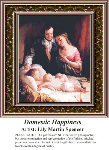 Domestic Happiness, Fine Art Counted Cross Stitch Pattern, Family Counted Cross Stitch Pattern