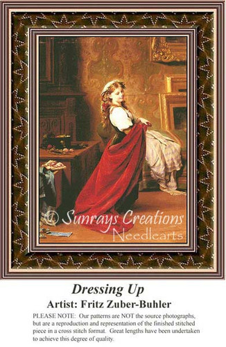 Dressing Up, Fine Art Counted Cross Stitch Pattern, Women Counted Cross Stitch Patterns