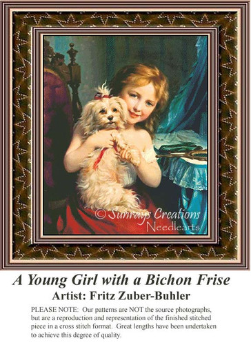 A Young Girl with a Bichon Frise, Animals Counted Cross Stitch Pattern, Children Counted Cross Stitch Pattern