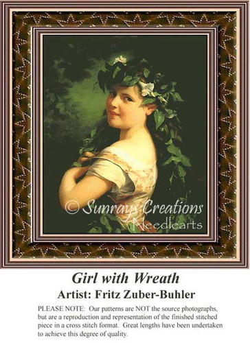 Girl with Wreath, Fine Art Counted Cross Stitch Pattern, Women Counted Cross Stitch Pattern