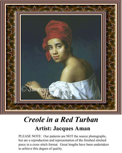 Creole in a Red Turban, Fine Art Counted Cross Stitch Pattern, Women Counted Cross Stitch Pattern