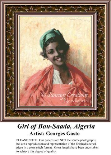 Girl of Bou-Saada, Algeria, Fine Art Counted Cross Stitch Pattern, Women Counted Cross Stitch Pattern