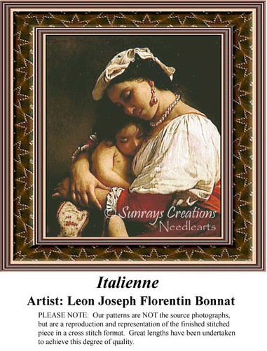 Italienne, Fine Art Counted Cross Stitch Pattern, Family Counted Cross Stitch Pattern