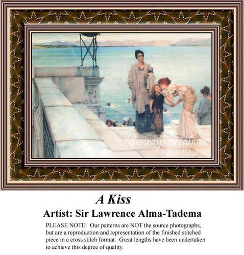 A Kiss, Fine Art Counted Cross Stitch Pattern